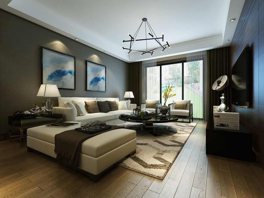 景瑞御江山现代简约四居室装修效果图