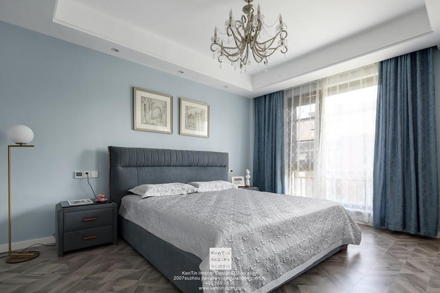 愉景湾现代轻奢混搭风格复式卧室装修实景案例