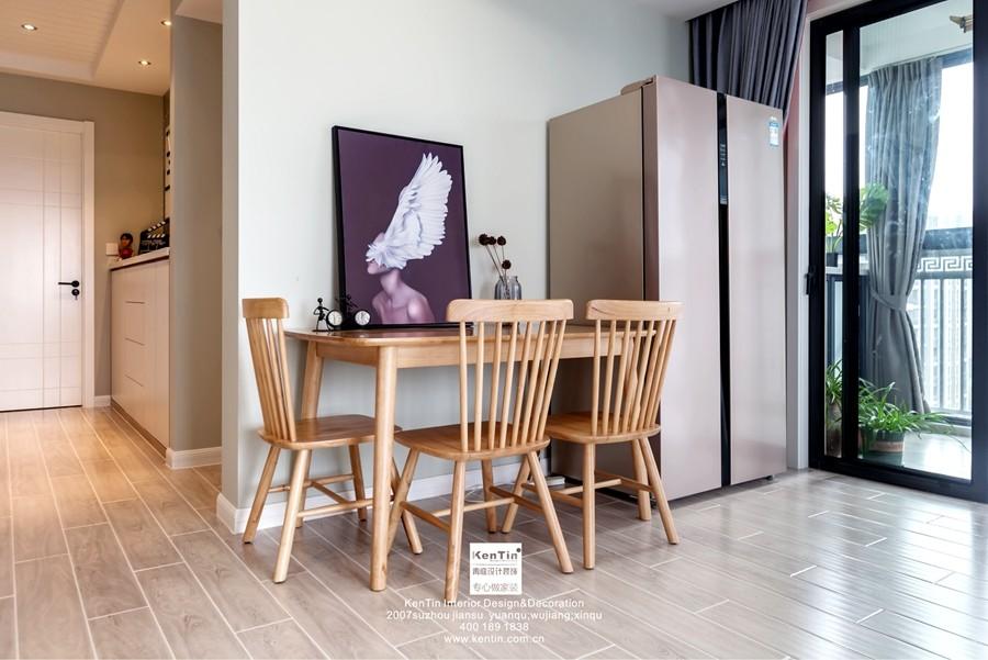 独墅湾现代简约三居室餐厅装修实景案例