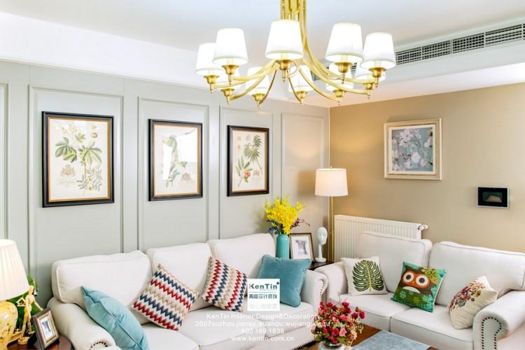 金湖湾美式风格三居室装修实景案例