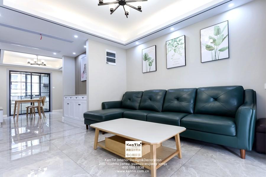 中交璟庭现代简约三居室客厅装修实景案例