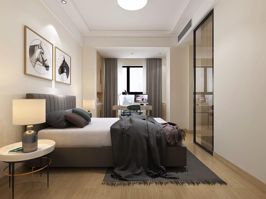 独墅湾现代简约别墅卧室装修效果图