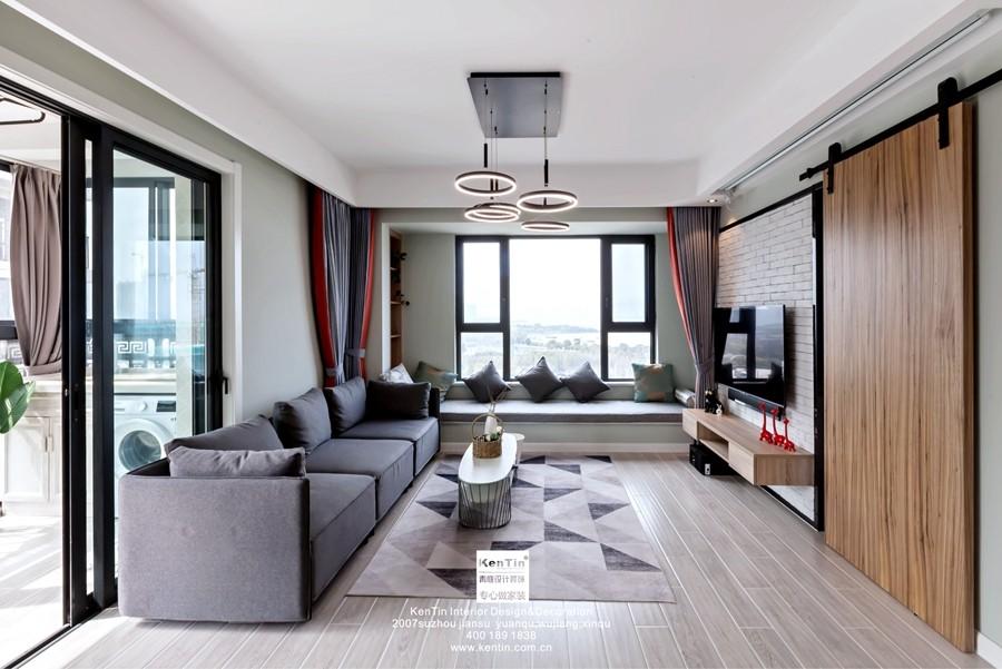 独墅湾现代简约三居室客厅装修实景案例