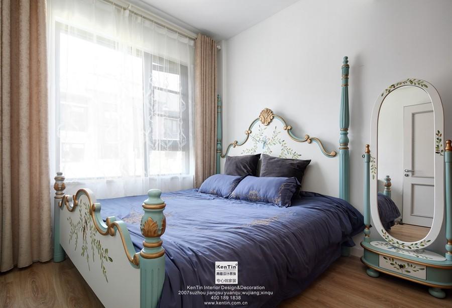 愉景湾现代轻奢混搭风格复式装修卧室实景案例