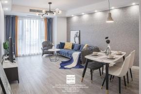 弘阳上湖现代简约三居室客厅装修实景案例