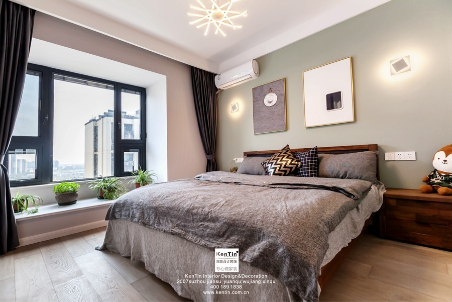 独墅湾现代简约三居室卧室装修实景案例