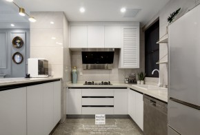 愉景湾现代轻奢混搭风格复式厨房装修实景案例