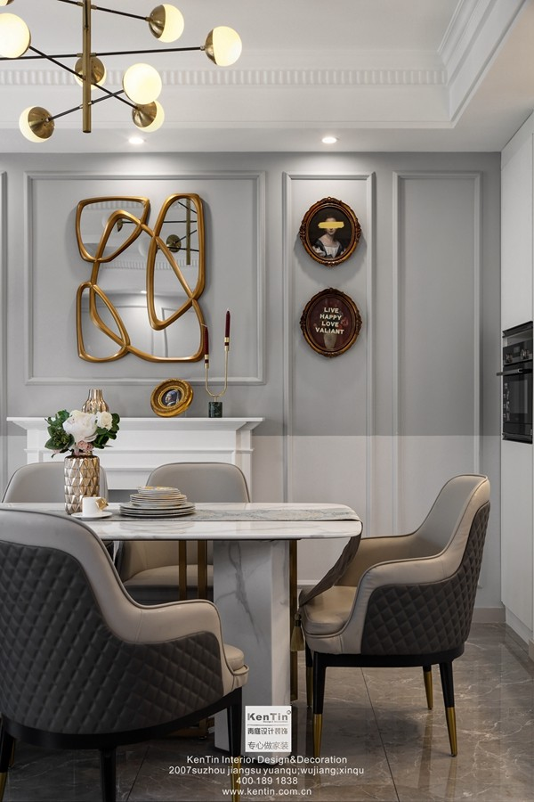 愉景湾现代轻奢混搭风格复式客厅装修实景案例