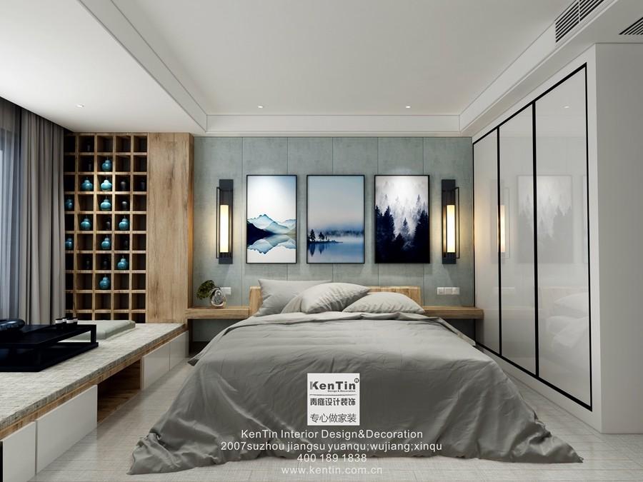 丰谷景园现代简约三居室卧室装修效果图