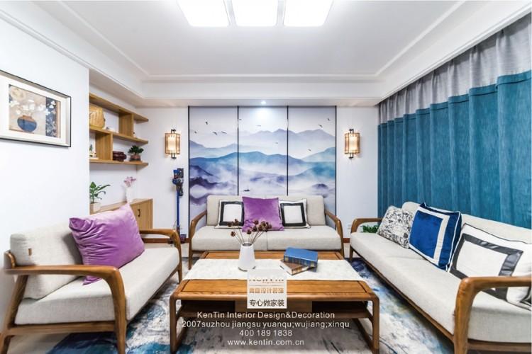 南石湖花园新中式三居室装修实景案例