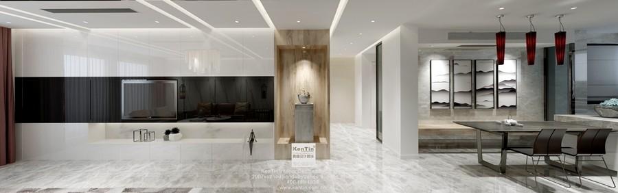 丰谷景园现代简约三居室客厅装修效果图