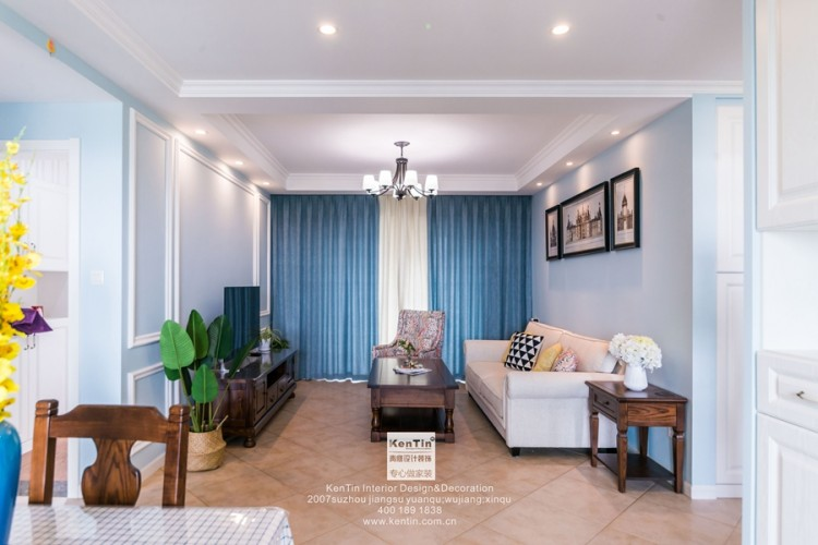 弘阳上湖美式风格三居室装修实景案例