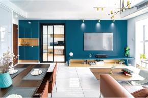 九龙仓风华里现代简约三居室客厅装修实景案例