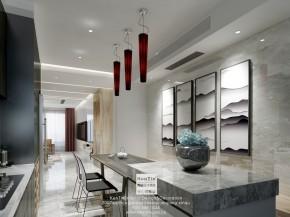 丰谷景园现代简约三居室餐厅装修效果图