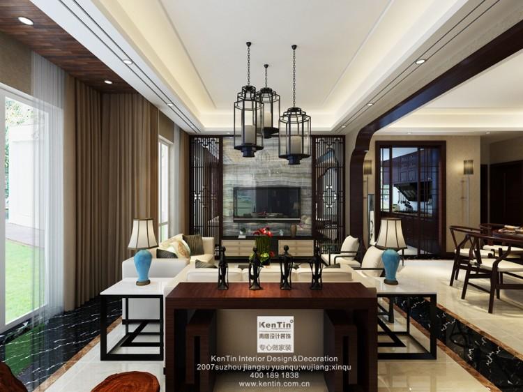 金水湾中式风格三居室装修效果图