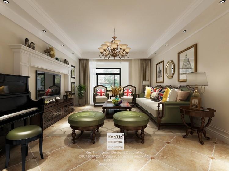 景悦星湖美式风格三居室装修效果图