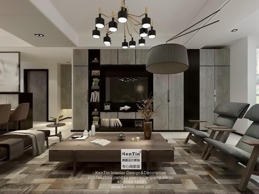 金地名悦现代简约三居室客厅装修效果图