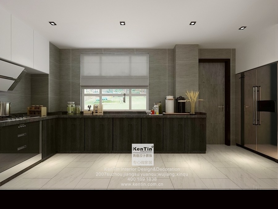 金地名悦现代简约三居室厨房装修效果图