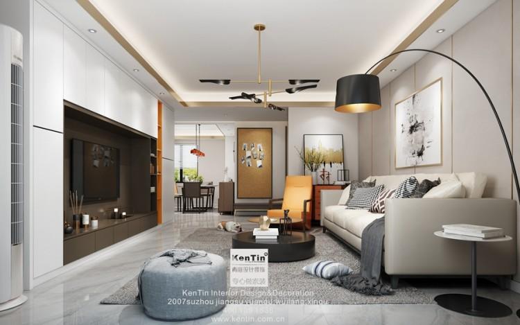 湖左岸现代简约三居室装修效果图