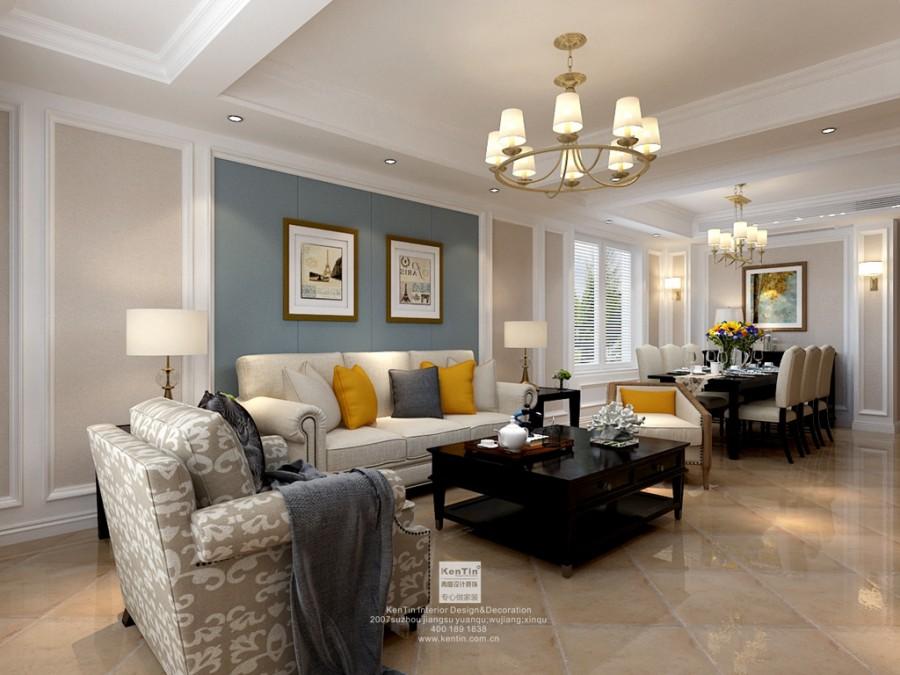 景山玫瑰园美式风格复式多居室装修实景案例