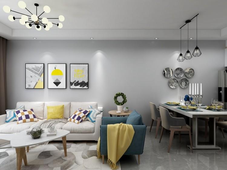 虹锦湾北欧三居室装修效果图