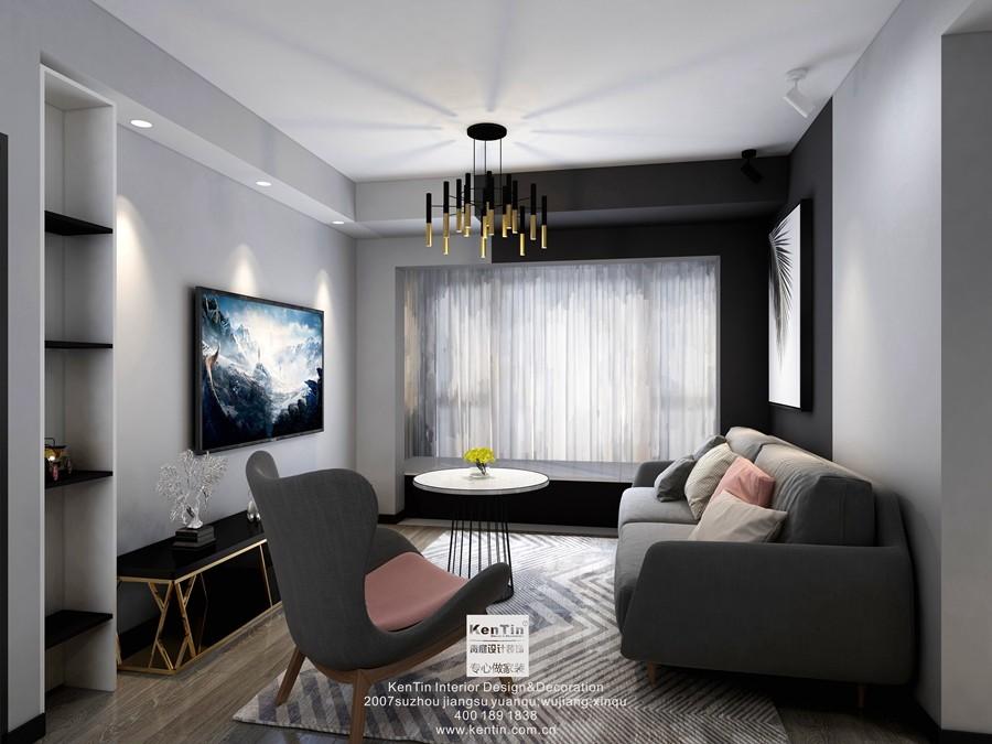 水漾花城六期现代简约风格两居室装修效果图