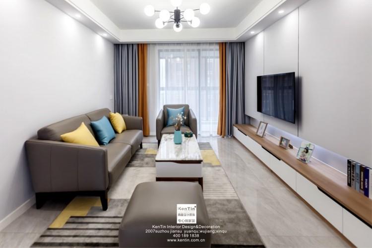 江南华府现代风格三居室客厅装修实景案例