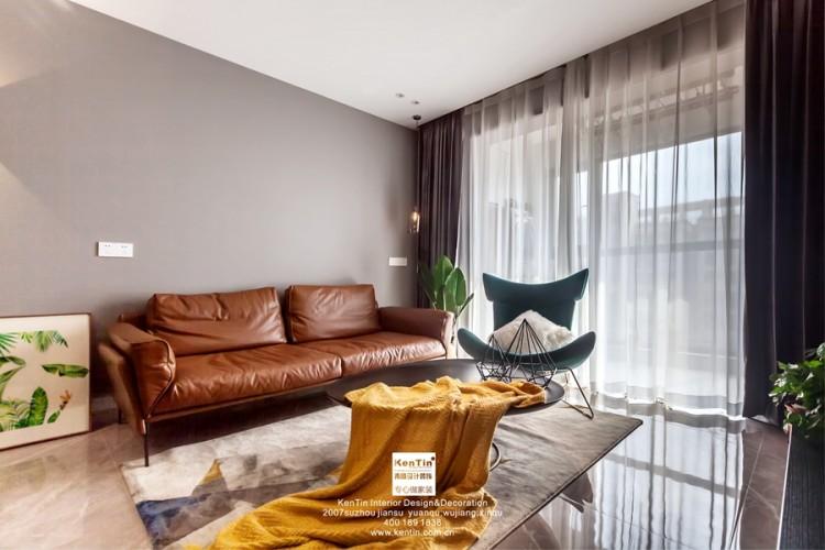 江南华府现代简约风格三居室客厅装修实景案例