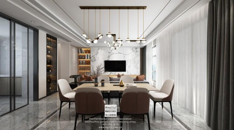姑苏名著现代简约风格三居室客餐装修效果图