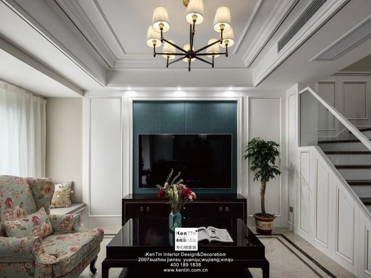 狮山原著复式美式轻奢风格客厅装修实景案例