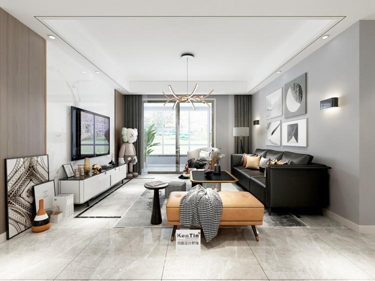 保利悦玺现代简约风格三居室装修效果图