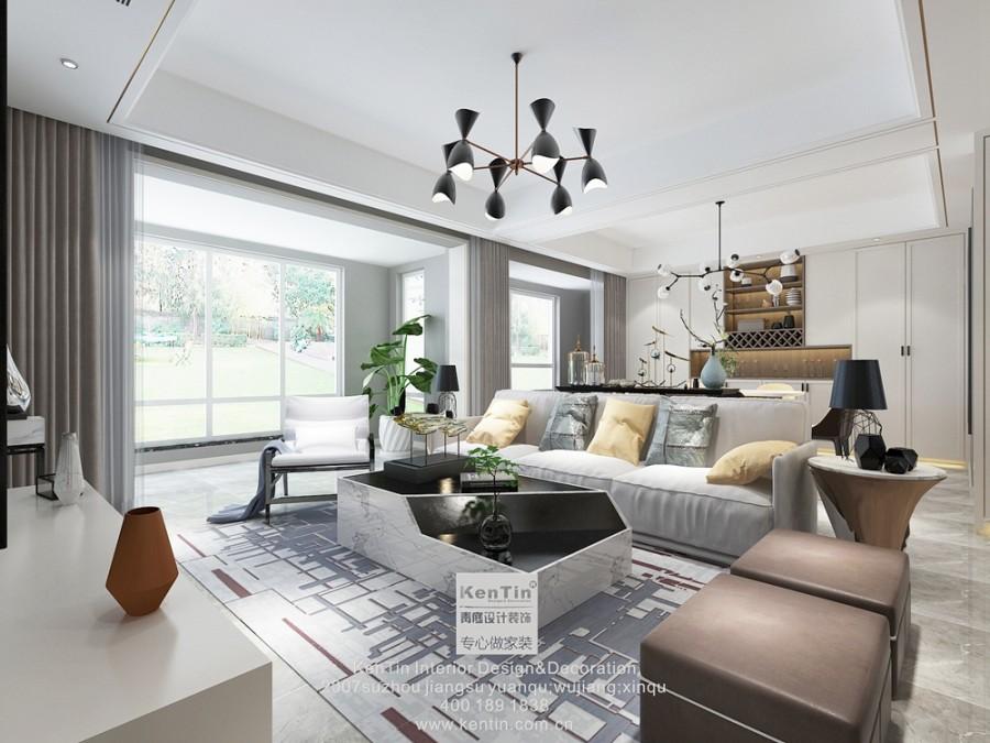 华润金悦湾现代简约风格复式客厅装修效果图