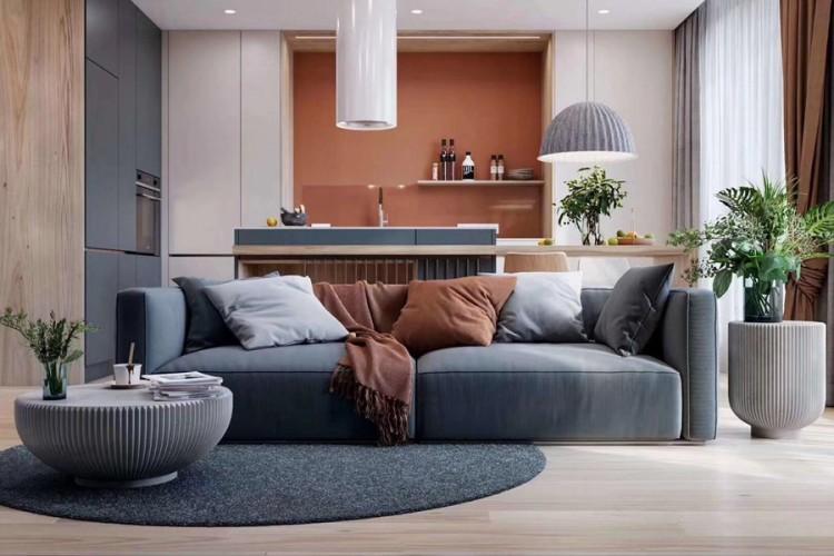 现代风格两居室客厅装修实景案例
