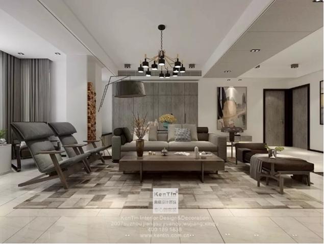 金地名悦现代风格三室一厅装修效果图