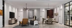 汇景名苑现代简约风格三居室客厅装修效果图