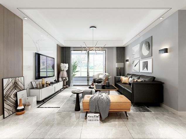 保利悦玺现代简约风格三室两厅装修效果图