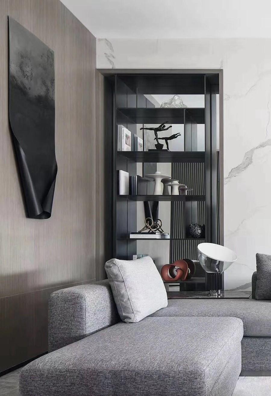 现代简约风格三居室客厅装修实景案例