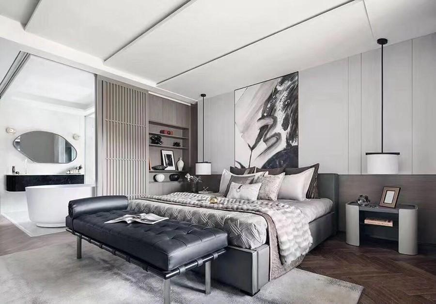 现代简约风格三居室卧室装修实景案例