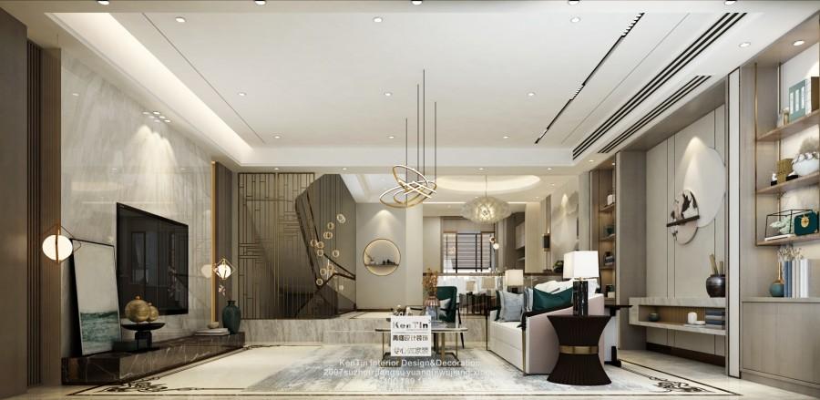 现代新中式风格客厅效果图