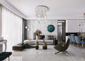 现代简约风格三居室客厅效果图