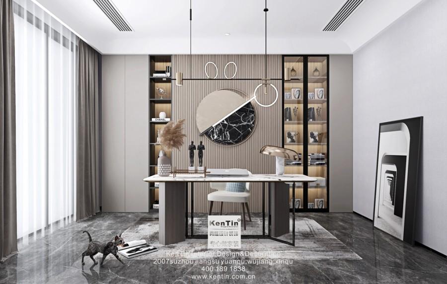 世茂铜雀台现代轻奢风格别墅书房装修效果图