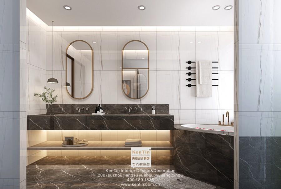 铜雀台现代轻奢风格别墅卫生间装修效果图