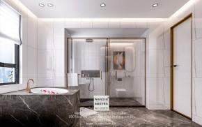 世茂铜雀台现代轻奢风格别墅卫生间装修效果图