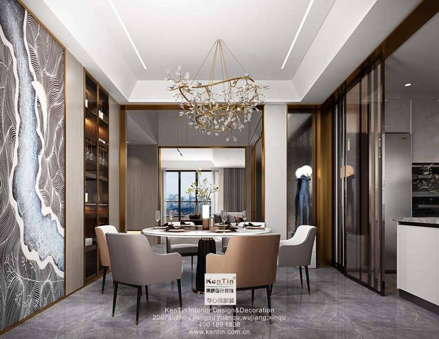 世茂铜雀台现代轻奢风格别墅餐厅装修效果图