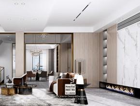 世茂铜雀台现代轻奢风格别墅客厅装修效果图