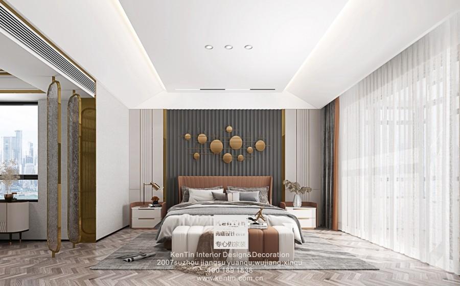 铜雀台现代轻奢风格别墅卧室装修效果图