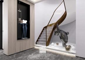 铜雀台现代轻奢风格别墅玄关装修效果图