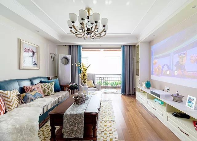 现代美式风格三居室客厅装修效果图