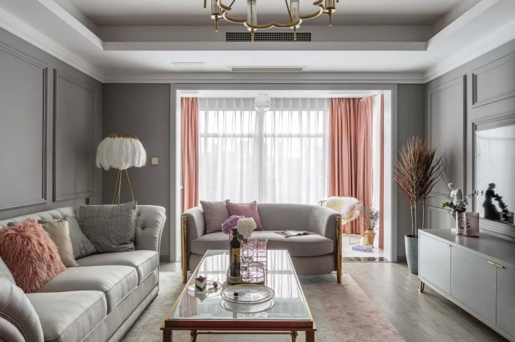 美式轻奢风格三居室装修效果图